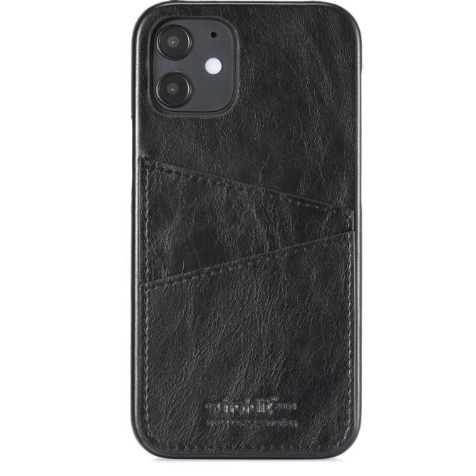 Phone Case iPhone 12 Mini Cardslot, Black PU